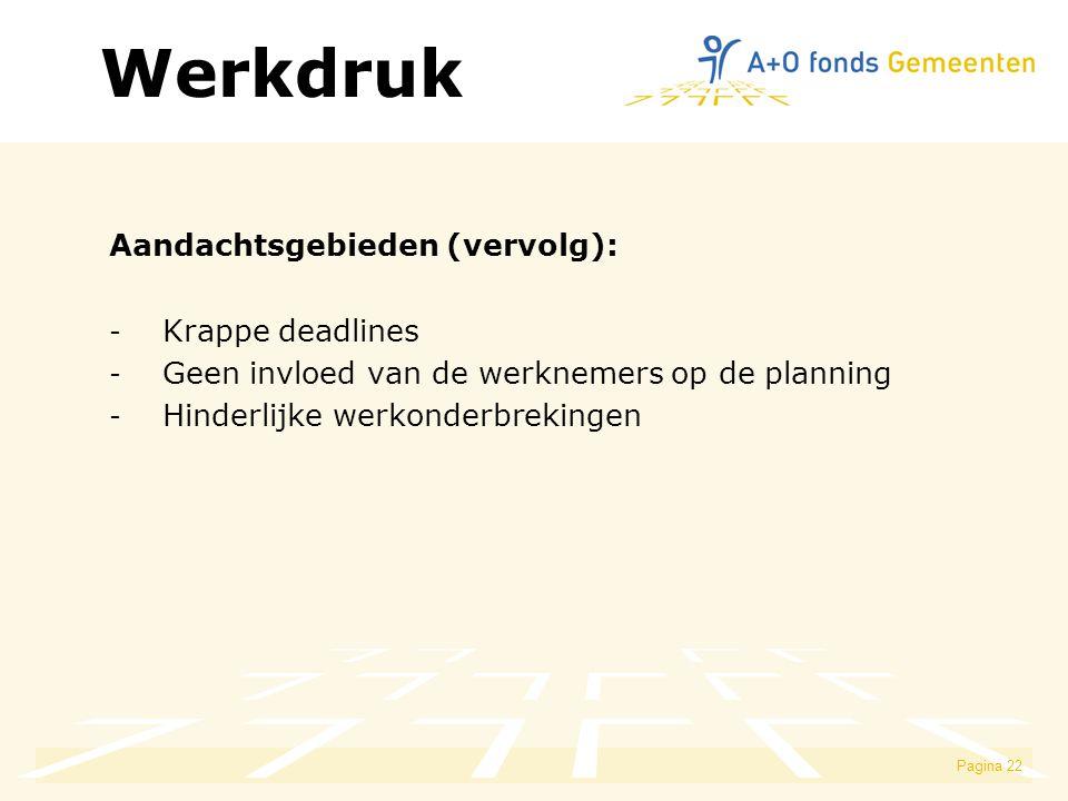 Pagina 22 Aandachtsgebieden (vervolg): - Krappe deadlines - Geen invloed van de werknemers op de planning - Hinderlijke werkonderbrekingen Werkdruk