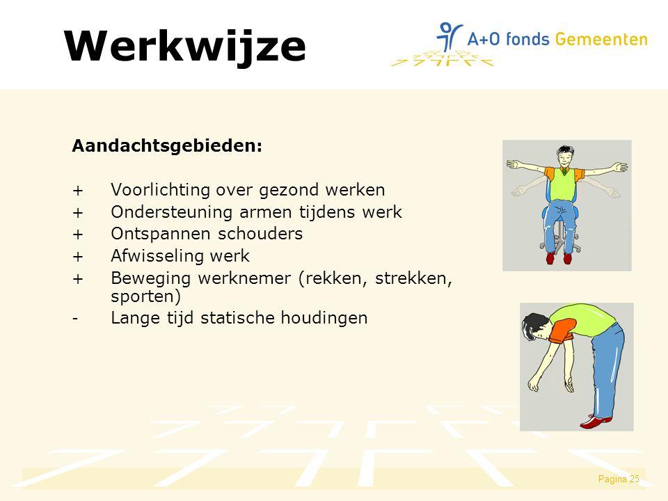 Pagina 25 Aandachtsgebieden: + Voorlichting over gezond werken + Ondersteuning armen tijdens werk + Ontspannen schouders + Afwisseling werk + Beweging werknemer (rekken, strekken, sporten) - Lange tijd statische houdingen Werkwijze