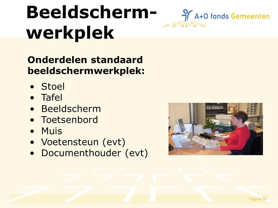Pagina 28 Beeldscherm- werkplek Stoel Tafel Beeldscherm Toetsenbord Muis Voetensteun (evt) Documenthouder (evt) Onderdelen standaard beeldschermwerkplek: