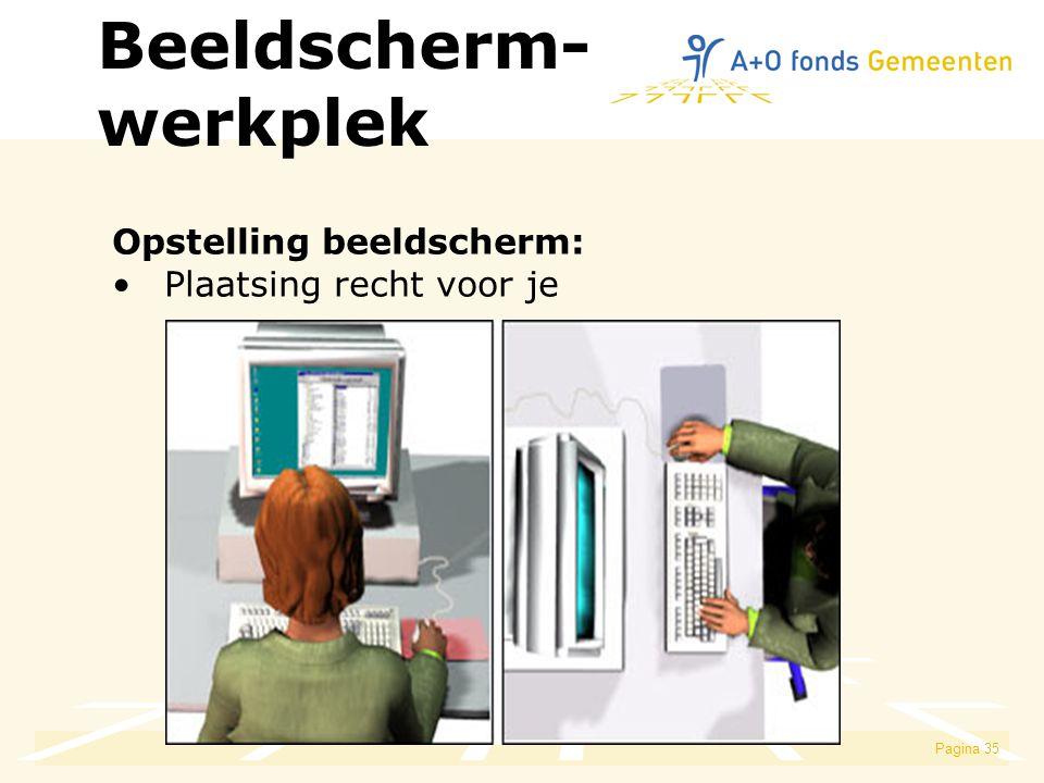 Pagina 35 Opstelling beeldscherm: Plaatsing recht voor je Beeldscherm- werkplek