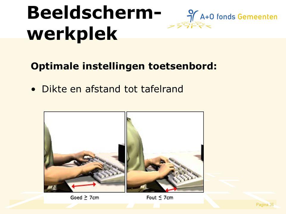 Pagina 36 Optimale instellingen toetsenbord: Dikte en afstand tot tafelrand Beeldscherm- werkplek