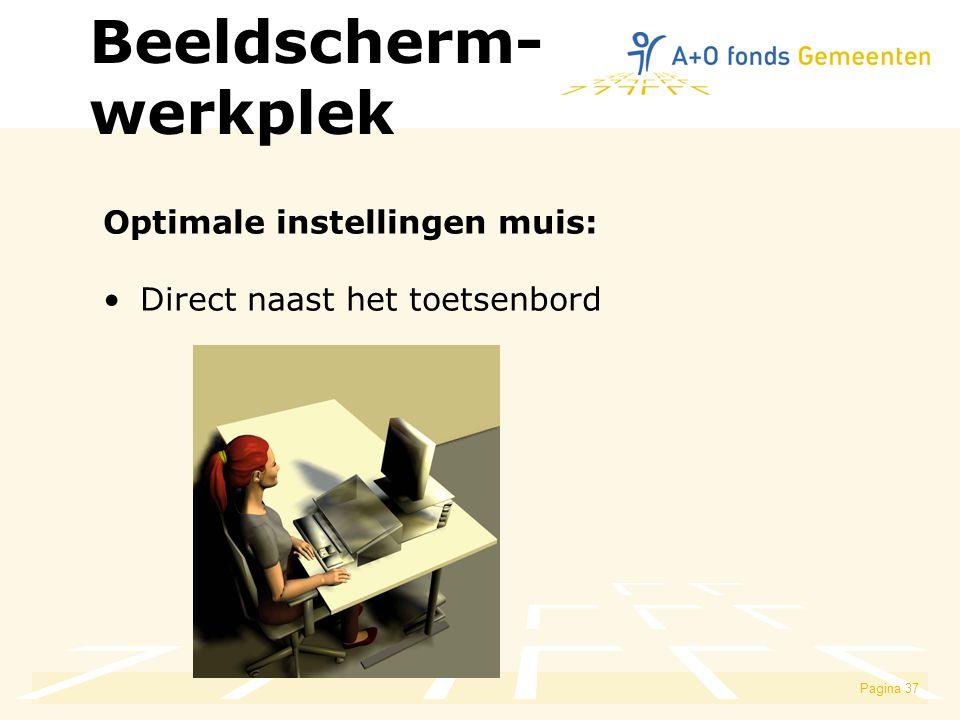 Pagina 37 Optimale instellingen muis: Direct naast het toetsenbord Beeldscherm- werkplek