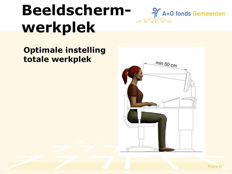 Pagina 40 Optimale instelling totale werkplek Beeldscherm- werkplek