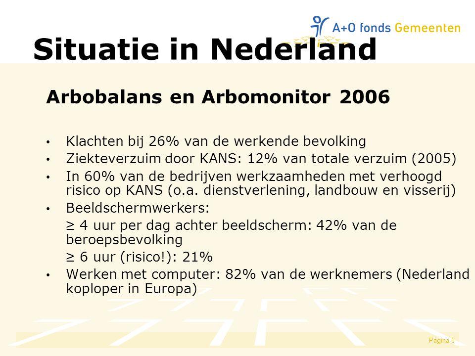 Pagina 6 Situatie in Nederland Arbobalans en Arbomonitor 2006 Klachten bij 26% van de werkende bevolking Ziekteverzuim door KANS: 12% van totale verzuim (2005) In 60% van de bedrijven werkzaamheden met verhoogd risico op KANS (o.a.