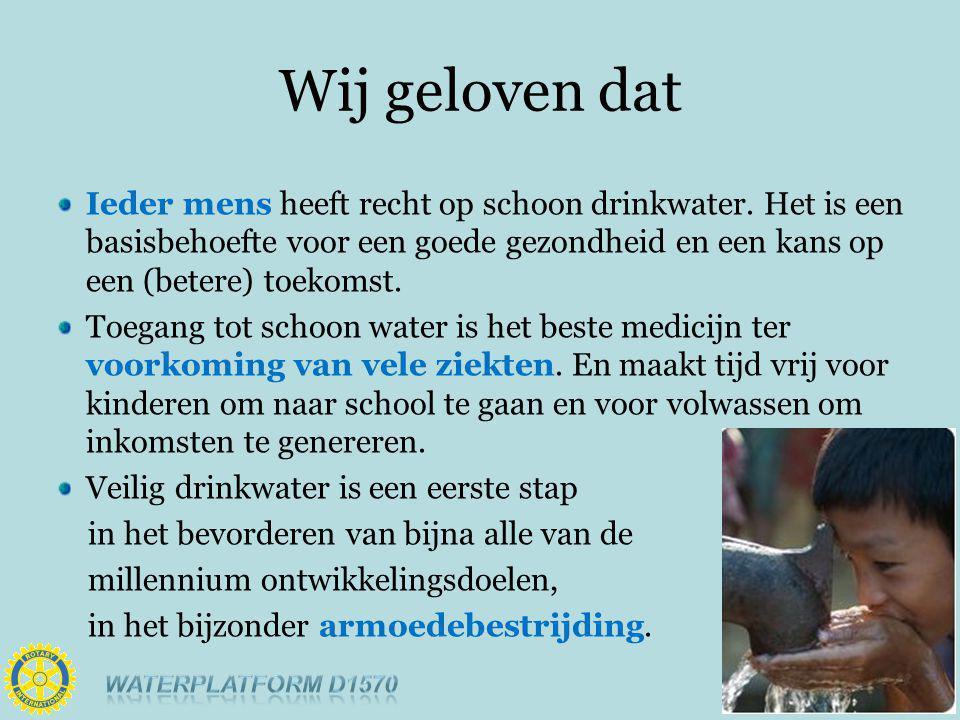 Wij geloven dat Ieder mens heeft recht op schoon drinkwater.