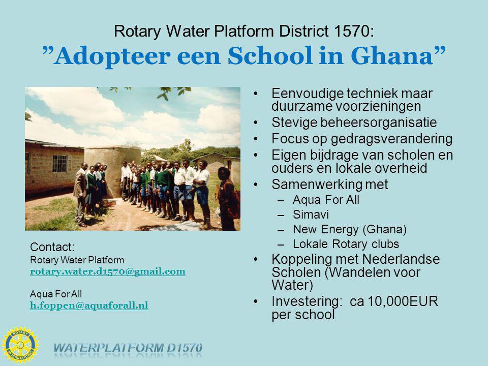 Rotary Water Platform District 1570: Adopteer een School in Ghana Contact: Rotary Water Platform rotary.water.d1570@gmail.com Aqua For All h.foppen@aquaforall.nl Eenvoudige techniek maar duurzame voorzieningen Stevige beheersorganisatie Focus op gedragsverandering Eigen bijdrage van scholen en ouders en lokale overheid Samenwerking met –Aqua For All –Simavi –New Energy (Ghana) –Lokale Rotary clubs Koppeling met Nederlandse Scholen (Wandelen voor Water) Investering: ca 10,000EUR per school