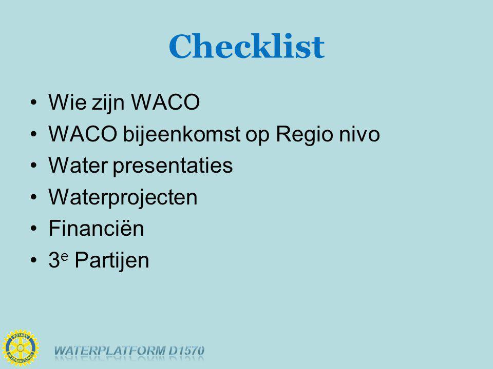 Checklist Wie zijn WACO WACO bijeenkomst op Regio nivo Water presentaties Waterprojecten Financiën 3 e Partijen