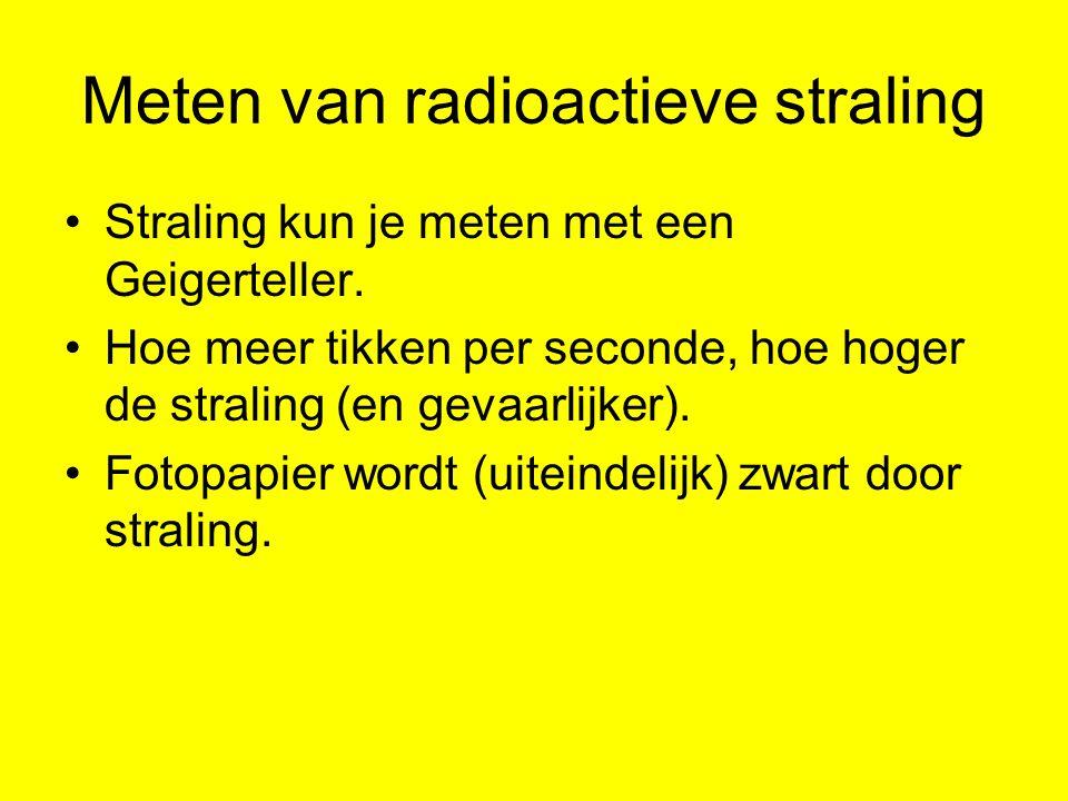 Meten van radioactieve straling Straling kun je meten met een Geigerteller. Hoe meer tikken per seconde, hoe hoger de straling (en gevaarlijker). Foto