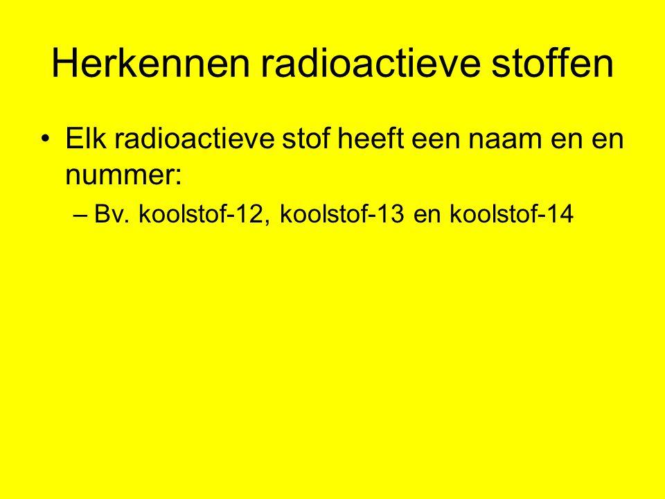 Herkennen radioactieve stoffen Elk radioactieve stof heeft een naam en en nummer: –Bv. koolstof-12, koolstof-13 en koolstof-14