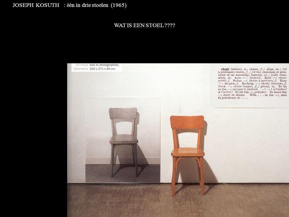 JOSEPH KOSUTH : één in drie stoelen (1965) WAT IS EEN STOEL ????