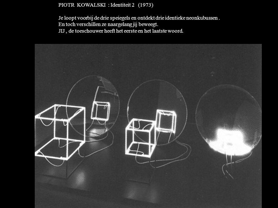 PIOTR KOWALSKI : Identiteit 2 (1973) Je loopt voorbij de drie speiegels en ontdekt drie identieke neonkubussen.