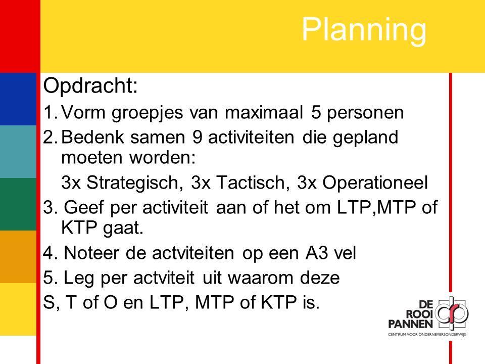 10 Planning Opdracht: 1.Vorm groepjes van maximaal 5 personen 2.Bedenk samen 9 activiteiten die gepland moeten worden: 3x Strategisch, 3x Tactisch, 3x Operationeel 3.