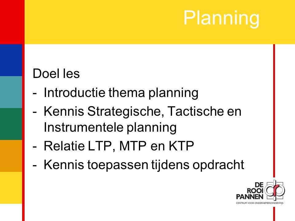 3 Planning Doel les -Introductie thema planning -Kennis Strategische, Tactische en Instrumentele planning -Relatie LTP, MTP en KTP -Kennis toepassen tijdens opdracht