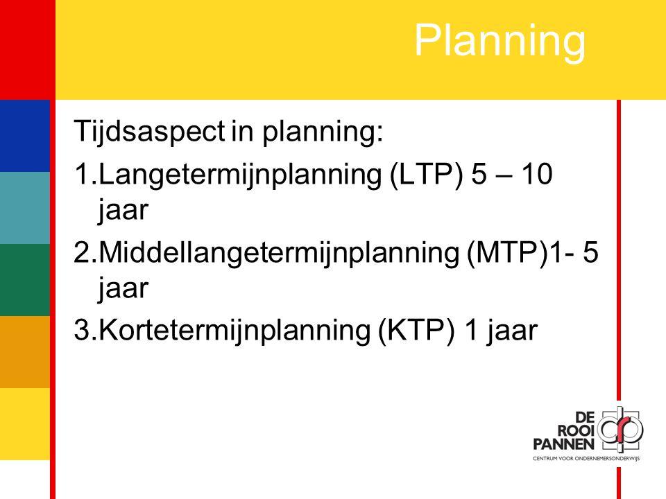 9 Planning Tijdsaspect in planning: 1.Langetermijnplanning (LTP) 5 – 10 jaar 2.Middellangetermijnplanning (MTP)1- 5 jaar 3.Kortetermijnplanning (KTP) 1 jaar