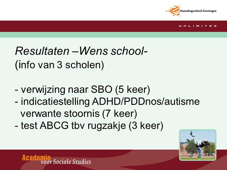 Resultaten –Wens school- (i nfo van 3 scholen) - verwijzing naar SBO (5 keer) - indicatiestelling ADHD/PDDnos/autisme verwante stoornis (7 keer) - tes