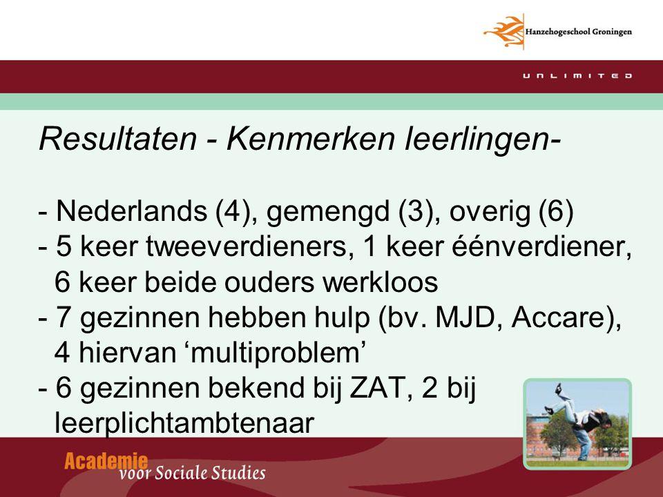 Resultaten - Kenmerken leerlingen- - Nederlands (4), gemengd (3), overig (6) - 5 keer tweeverdieners, 1 keer éénverdiener, 6 keer beide ouders werkloo
