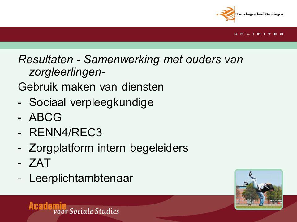 Resultaten - Samenwerking met ouders van zorgleerlingen- Gebruik maken van diensten -Sociaal verpleegkundige -ABCG -RENN4/REC3 -Zorgplatform intern be