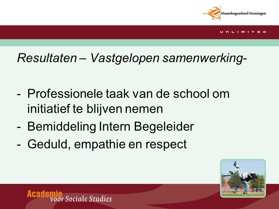 Resultaten – Vastgelopen samenwerking- -Professionele taak van de school om initiatief te blijven nemen -Bemiddeling Intern Begeleider -Geduld, empath