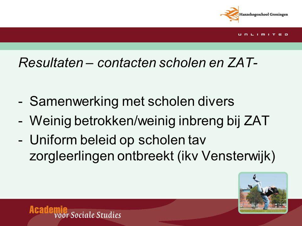 Resultaten – contacten scholen en ZAT- -Samenwerking met scholen divers -Weinig betrokken/weinig inbreng bij ZAT -Uniform beleid op scholen tav zorgle