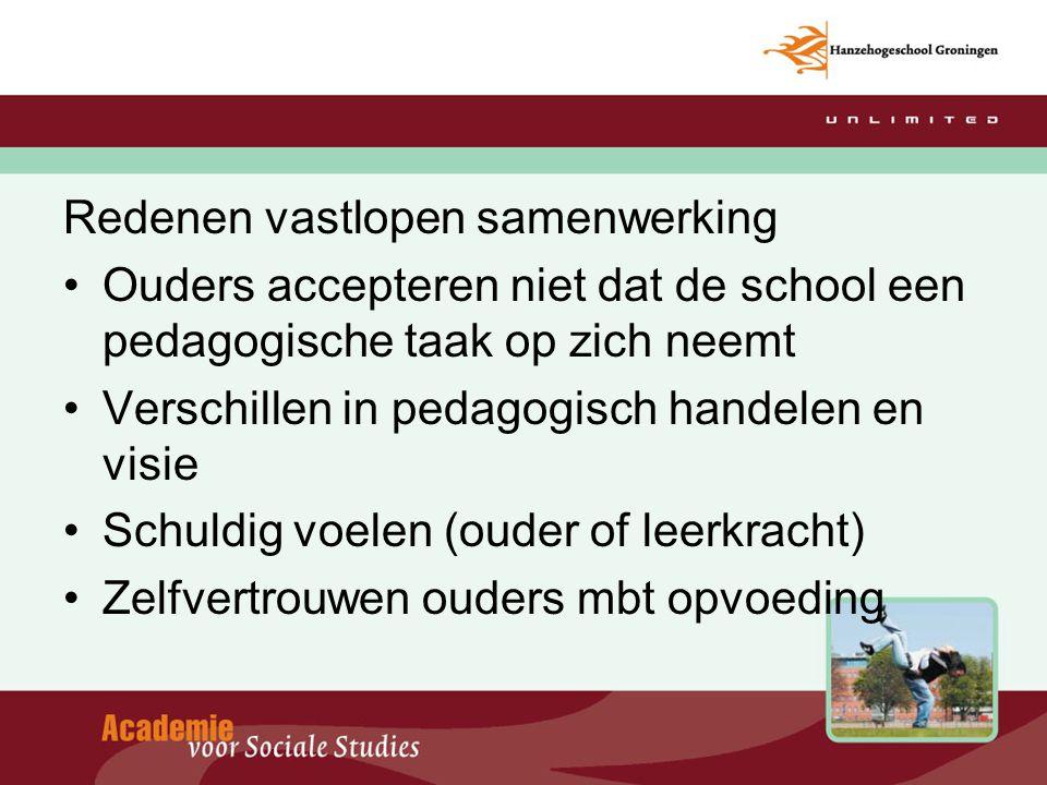 Redenen vastlopen samenwerking Ouders accepteren niet dat de school een pedagogische taak op zich neemt Verschillen in pedagogisch handelen en visie S
