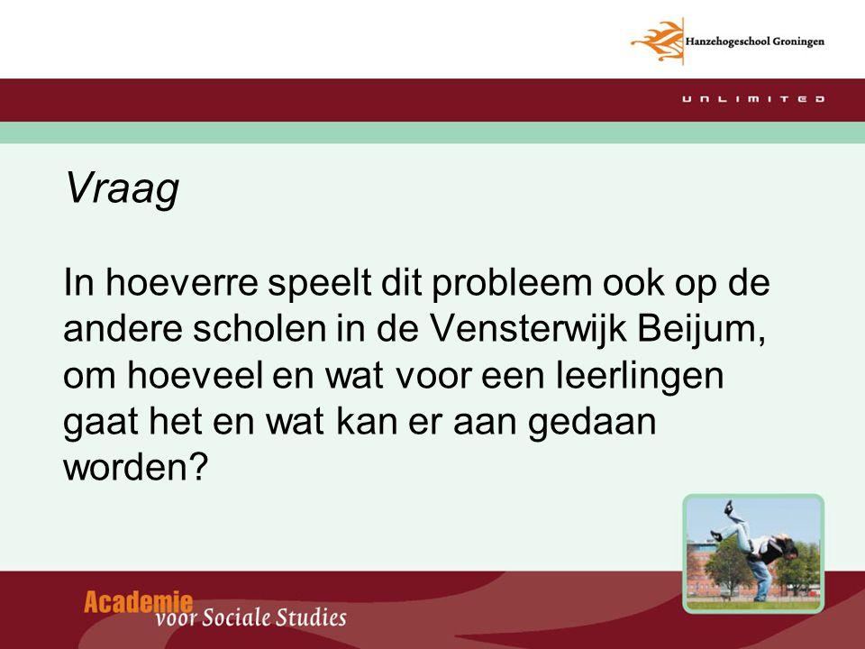 Vraag In hoeverre speelt dit probleem ook op de andere scholen in de Vensterwijk Beijum, om hoeveel en wat voor een leerlingen gaat het en wat kan er