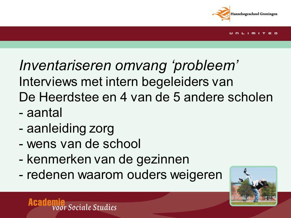 Inventariseren omvang 'probleem' Interviews met intern begeleiders van De Heerdstee en 4 van de 5 andere scholen - aantal - aanleiding zorg - wens van