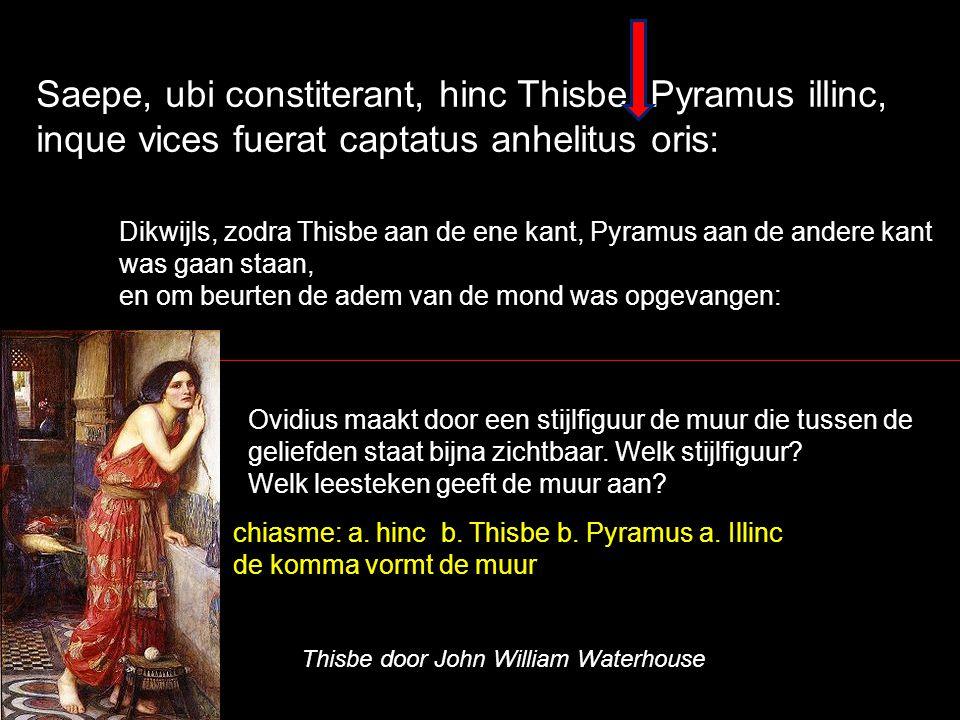 Saepe, ubi constiterant, hinc Thisbe, Pyramus illinc, inque vices fuerat captatus anhelitus oris: Dikwijls, zodra Thisbe aan de ene kant, Pyramus aan