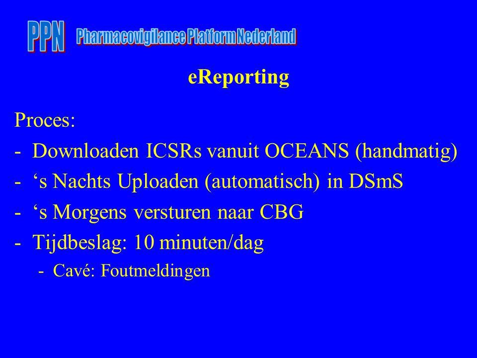 eReporting Proces: -Downloaden ICSRs vanuit OCEANS (handmatig) -'s Nachts Uploaden (automatisch) in DSmS -'s Morgens versturen naar CBG -Tijdbeslag: 10 minuten/dag -Cavé: Foutmeldingen