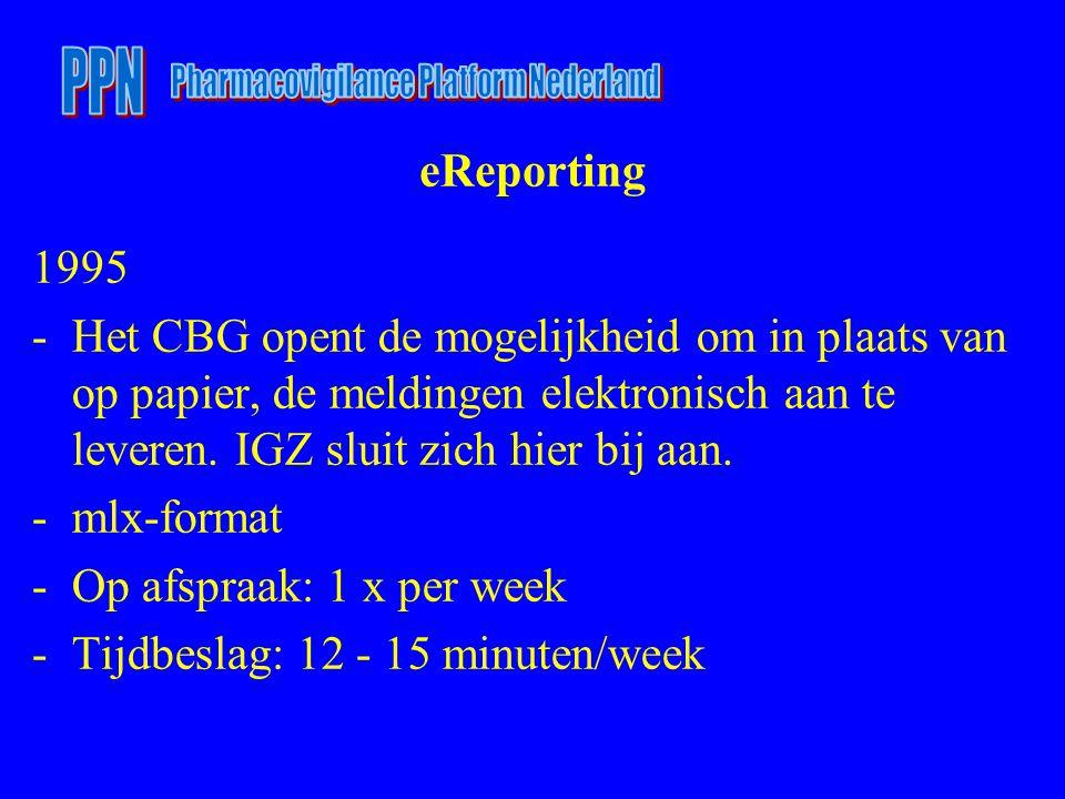 eReporting 1995 -Het CBG opent de mogelijkheid om in plaats van op papier, de meldingen elektronisch aan te leveren. IGZ sluit zich hier bij aan. -mlx