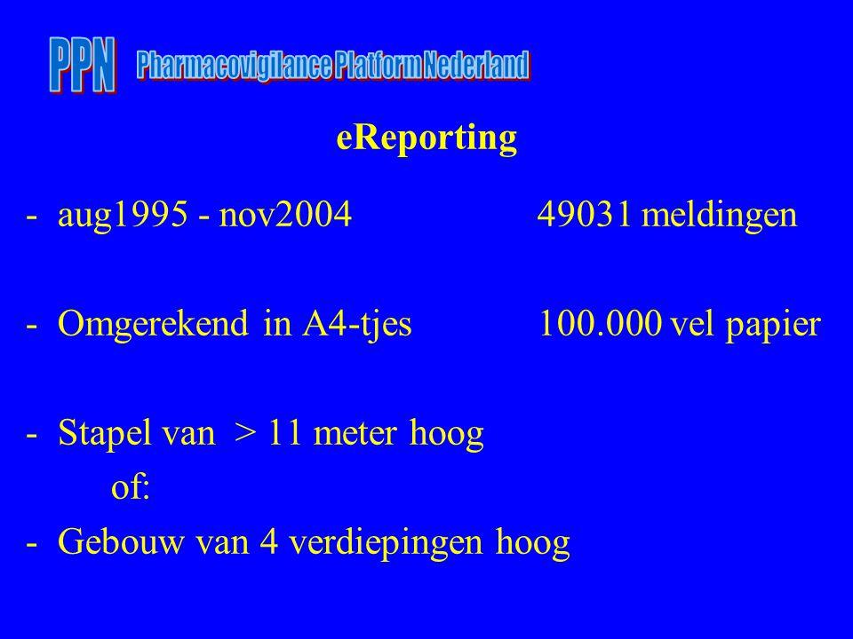 eReporting -aug1995 - nov200449031 meldingen -Omgerekend in A4-tjes100.000 vel papier -Stapel van > 11 meter hoog of: -Gebouw van 4 verdiepingen hoog