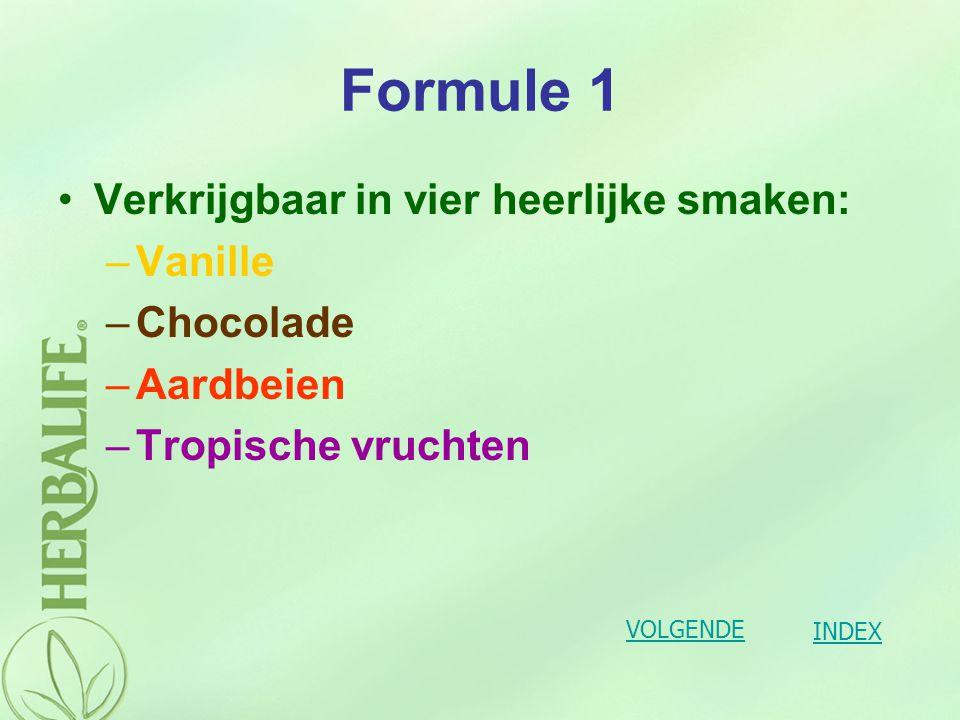 Formule 1 Eén Herbalife Formule 1 shake bevat 217 kilocalorieën en bevat hoogwaardige eiwitten van melk en soja, belangrijke vitaminen, mineralen en voedinsvezels.