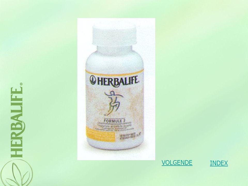 Formule 2 :Vezel- & kruidentabletten Gebruiksaanwijzing : –twee tabletten bij elke maaltijd, driemaal per dag INDEX VOLGENDE