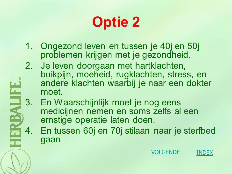 OPTIE 1 OPTIE 2 TERUG 1 TERUG 2