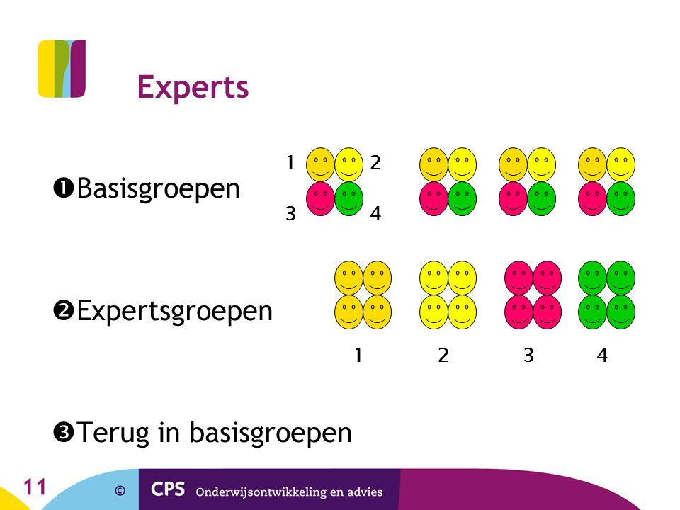 11 Experts  Basisgroepen  Expertsgroepen  Terug in basisgroepen 1 34 2 1432