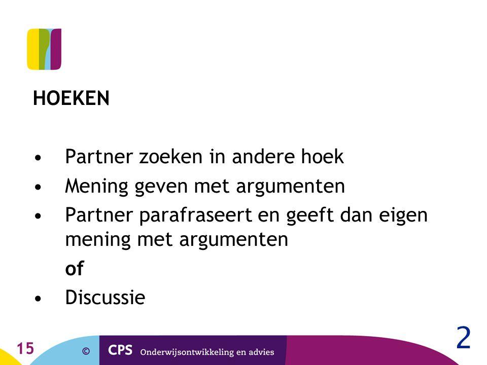 15 HOEKEN Partner zoeken in andere hoek Mening geven met argumenten Partner parafraseert en geeft dan eigen mening met argumenten of Discussie 2