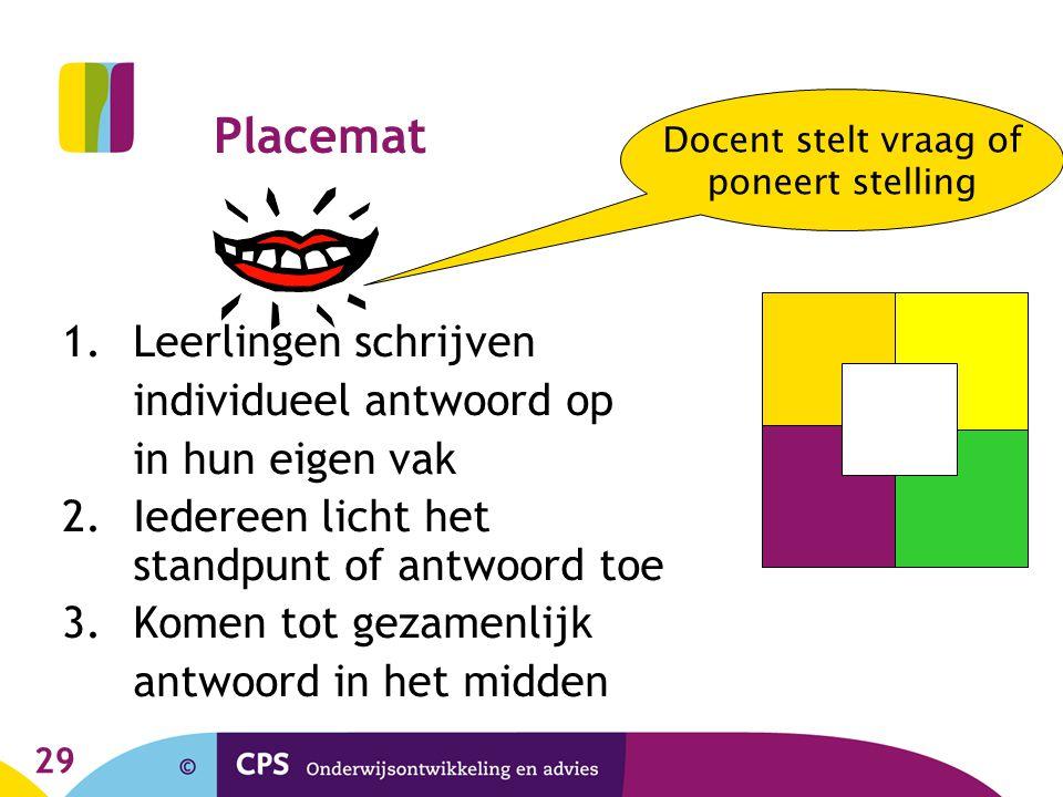 29 Placemat 1.Leerlingen schrijven individueel antwoord op in hun eigen vak 2.Iedereen licht het standpunt of antwoord toe 3.Komen tot gezamenlijk ant