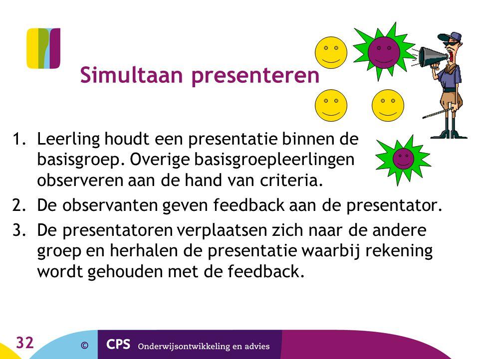 32 Simultaan presenteren 1.Leerling houdt een presentatie binnen de basisgroep. Overige basisgroepleerlingen observeren aan de hand van criteria. 2.De