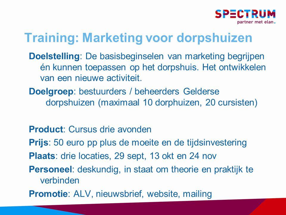 Training: Marketing voor dorpshuizen Doelstelling: De basisbeginselen van marketing begrijpen én kunnen toepassen op het dorpshuis.
