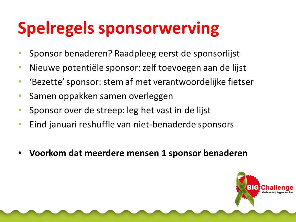 Spelregels sponsorwerving Sponsor benaderen.