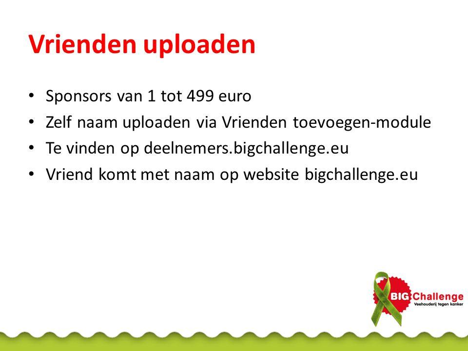 Vrienden uploaden Sponsors van 1 tot 499 euro Zelf naam uploaden via Vrienden toevoegen-module Te vinden op deelnemers.bigchallenge.eu Vriend komt met naam op website bigchallenge.eu