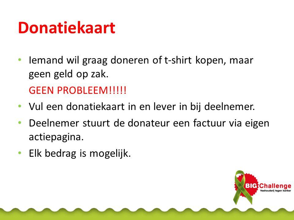Donatiekaart Iemand wil graag doneren of t-shirt kopen, maar geen geld op zak.
