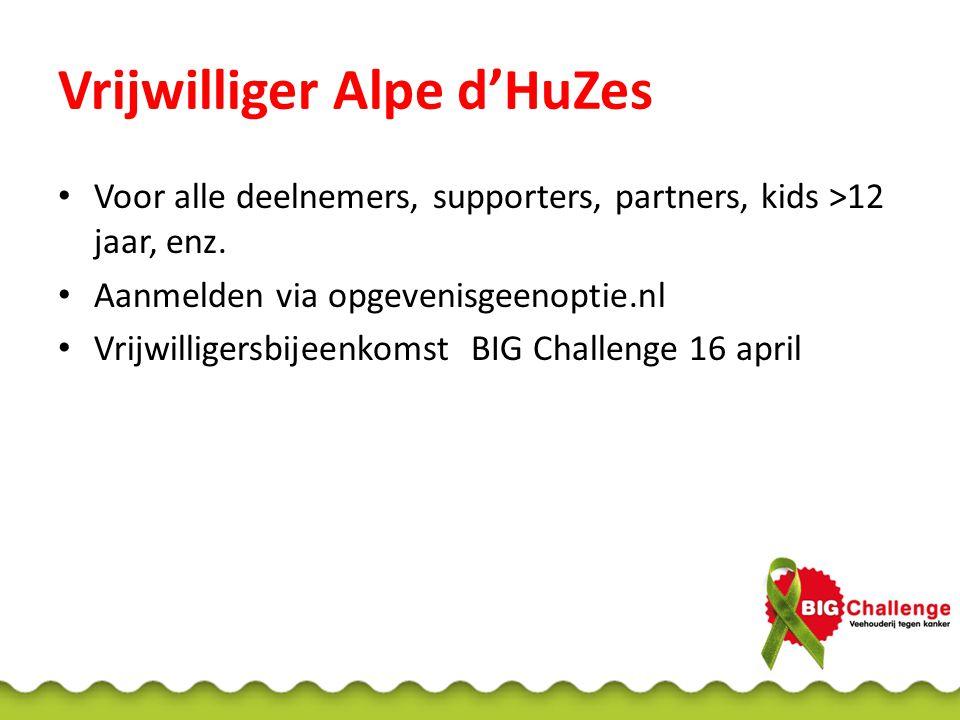 Vrijwilliger Alpe d'HuZes Voor alle deelnemers, supporters, partners, kids >12 jaar, enz.