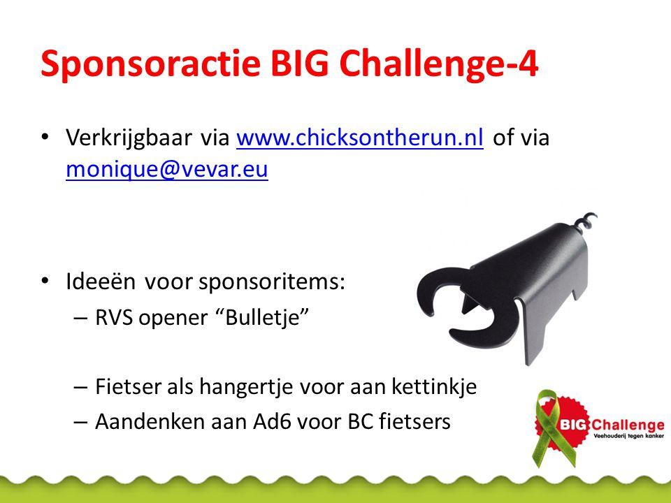 Verkrijgbaar via www.chicksontherun.nl of via monique@vevar.euwww.chicksontherun.nl monique@vevar.eu Ideeën voor sponsoritems: – RVS opener Bulletje – Fietser als hangertje voor aan kettinkje – Aandenken aan Ad6 voor BC fietsers