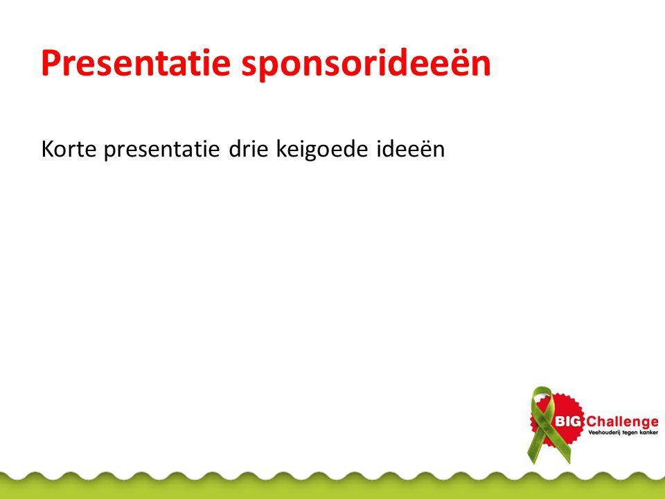 Presentatie sponsorideeën Korte presentatie drie keigoede ideeën