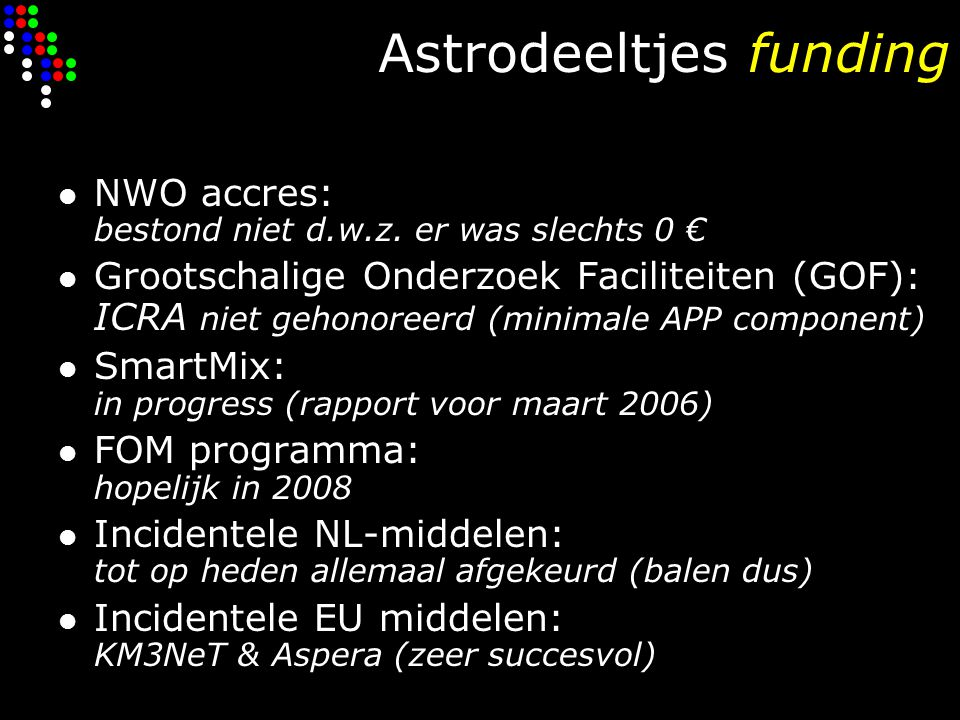 Astrodeeltjes funding NWO accres: bestond niet d.w.z.