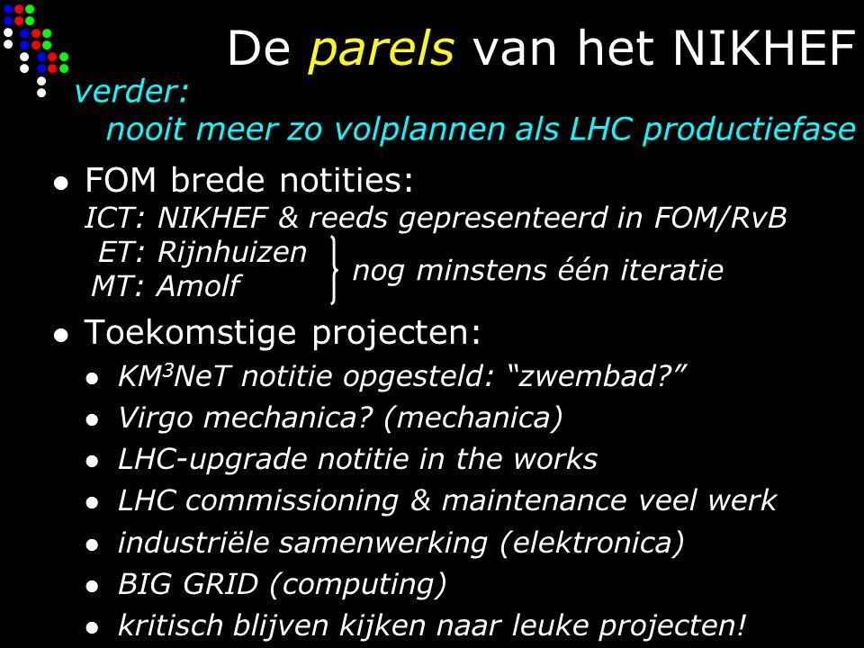 De parels van het NIKHEF FOM brede notities: ICT: NIKHEF & reeds gepresenteerd in FOM/RvB ET: Rijnhuizen MT: Amolf Toekomstige projecten: KM 3 NeT notitie opgesteld: zwembad Virgo mechanica.