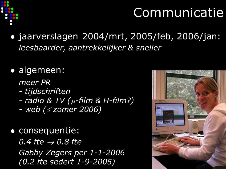 Communicatie jaarverslagen 2004/mrt, 2005/feb, 2006/jan: leesbaarder, aantrekkelijker & sneller algemeen: meer PR - tijdschriften - radio & TV (-film & H-film ) - web ( zomer 2006) consequentie: 0.4 fte  0.8 fte Gabby Zegers per 1-1-2006 (0.2 fte sedert 1-9-2005)