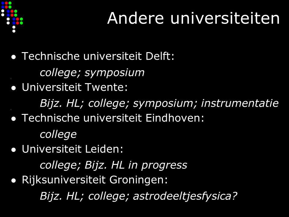Andere universiteiten Technische universiteit Delft: college; symposium Universiteit Twente: Bijz.
