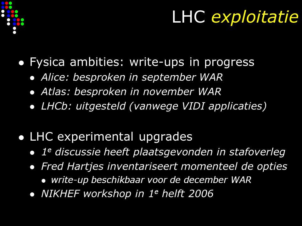 Universitaire partners Radboud Universiteit, Nijmegen: D0, Atlas/LHC & Pierre Auger/astrodeeltjes financieel stabiel Universiteit Utrecht: Alice/LHC & …… discussie 1 e geldstroom inzet na 2007 ( ) Vrije Universiteit, Amsterdam: LHCb/LHC & gravitatiegolven/astrodeeltjes financieel stabiel Universiteit van Amsterdam: Atlas/LHC & Antares/astrodeeltjes financieel stabiel