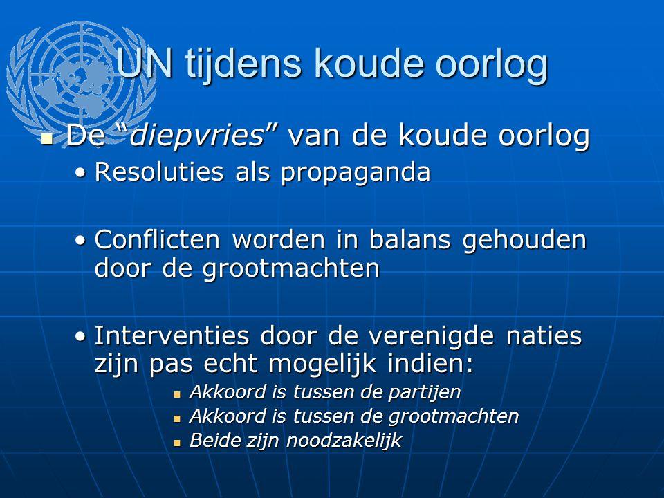 """UN tijdens koude oorlog De """"diepvries"""" van de koude oorlog De """"diepvries"""" van de koude oorlog Resoluties als propagandaResoluties als propaganda Confl"""